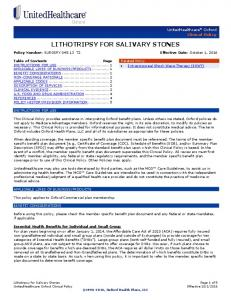LITHOTRIPSY FOR SALIVARY STONES