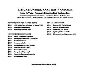 LITIGATION RISK ANALYSIS AND ADR