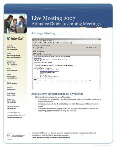 Live Meeting 2007 Attendee Guide to Joining Meetings