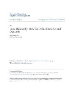 Lived Philosophy: How We Define Ourselves and Our Lives