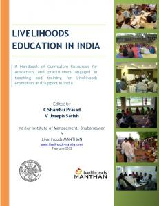 LIVELIHOODS EDUCATION IN INDIA
