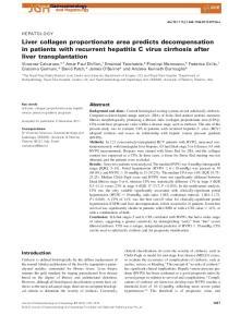 Liver collagen proportionate area predicts decompensation in patients with recurrent hepatitis C virus cirrhosis after liver transplantation
