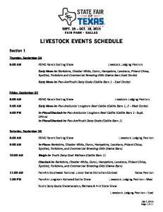 LIVESTOCK EVENTS SCHEDULE