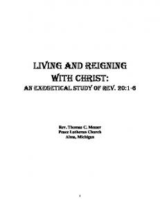 LIVING AND REIGNING WITH CHRIST: