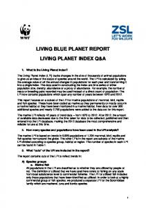 LIVING BLUE PLANET REPORT LIVING PLANET INDEX Q&A