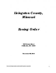 Livingston County, Missouri. Zoning Order