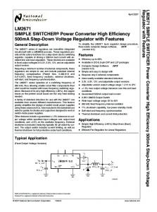 LM2671 SIMPLE SWITCHER Power Converter High Efficiency 500mA Step-Down Voltage Regulator with Features
