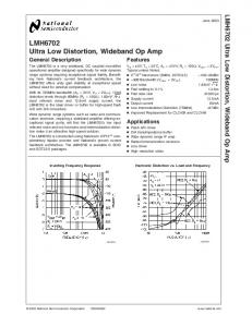 LMH6702 Ultra Low Distortion, Wideband Op Amp
