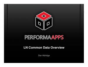 LN Common Data Overview. Dan Aldridge