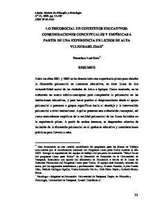 LO PSICOSOCIAL EN CONTEXTOS EDUCATIVOS: CONSIDERACIONES CONCEPTUALES Y EMPÍRICAS A PARTIR DE UNA EXPERIENCIA EN LICEOS DE ALTA VULNERABILIDAD RESUMEN