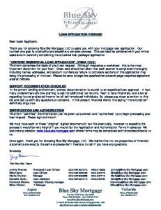 LOAN APPLICATION PACKAGE