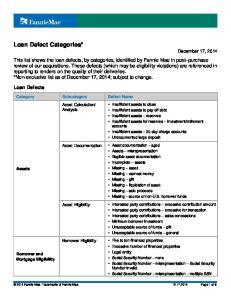 Loan Defect Categories* December 17, 2014
