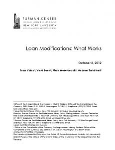 Loan Modifications: What Works