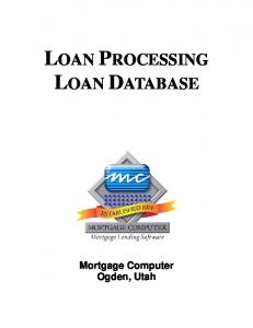 LOAN PROCESSING LOAN DATABASE