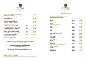 Lobby bar menu WHERE NOBILITY MEETS ART