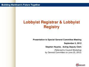 Lobbyist Registrar & Lobbyist Registry
