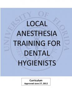LOCAL ANESTHESIA TRAINING FOR DENTAL HYGIENISTS