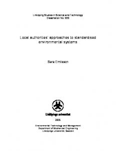 Local authorities approaches to standardised environmental systems