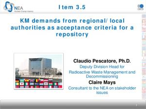 local authorities as acceptance criteria for a repository