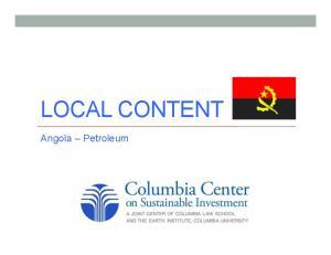 LOCAL CONTENT. Angola Petroleum