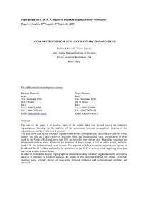 LOCAL DEVELOPMENT OF ITALIAN VOLUNTARY ORGANIZATIONS