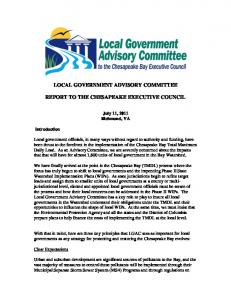 LOCAL GOVERNMENT ADVISORY COMMITTEE REPORT TO THE CHESAPEAKE EXECUTIVE COUNCIL