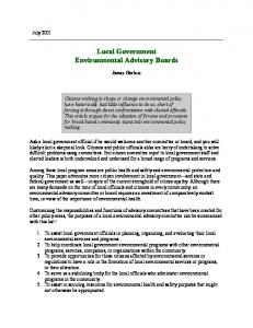 Local Government Environmental Advisory Boards