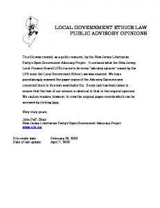 LOCAL GOVERNMENT ETHICS LAW PUBLIC ADVISORY OPINIONS