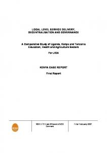 LOCAL LEVEL SERVICE DELIVERY, DECENTRALISATION AND GOVERNANCE