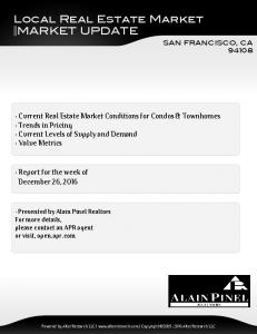 Local Real Estate Market MARKET UPDATE