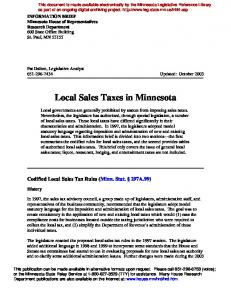 Local Sales Taxes in Minnesota