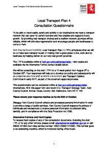 Local Transport Plan 4 Consultation Questionnaire