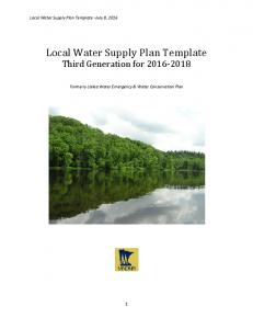 Local Water Supply Plan Template