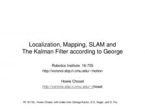 Localization, Mapping, SLAM and The Kalman Filter according to George