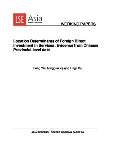 Location Determinants of Foreign Direct Investment in Services: Evidence from Chinese Provincial-level data