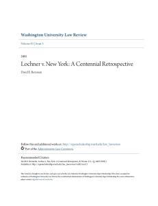 Lochner v. New York: A Centennial Retrospective