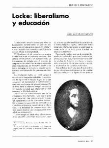Locke: liberalismo JUAN ANTONIO CRESPO