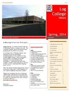 LOG COLLEGE NEWS Issue 2. Upcoming Events