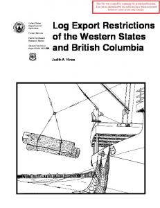 Log Export Restrictions of the Western States and British Columbia