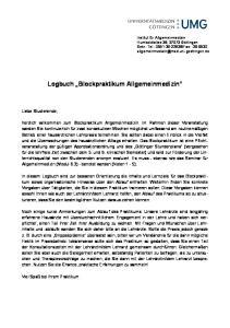 Logbuch Blockpraktikum Allgemeinmedizin