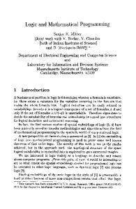 Logic and Mathematical Programming
