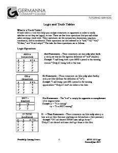 Logic and Truth Tables