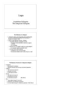 Logic. Aristotelian Syllogistic: The Categorical Syllogism. The Definition of a Syllogism. The Necessary Structure of a Categorical Syllogism