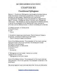 Logic: Deductive and Inductive by Carveth Read M.A. CHAPTER XII. Conditional Syllogisms