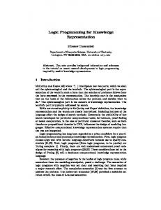 Logic Programming for Knowledge Representation