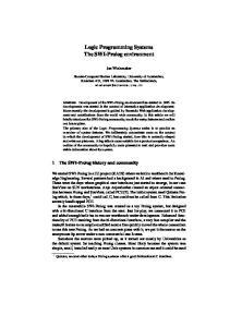 Logic Programming Systems The SWI-Prolog environment