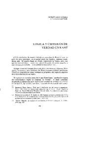 LOGICA y CRITERIOS DE VERDAD EN KANT