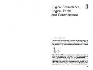 Logical Equivalence, Logical Truths, and Contradictions