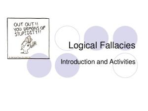 Logical Fallacies. Introduction and Activities