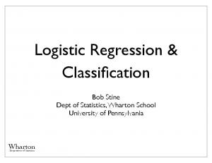 Logistic Regression & Classification